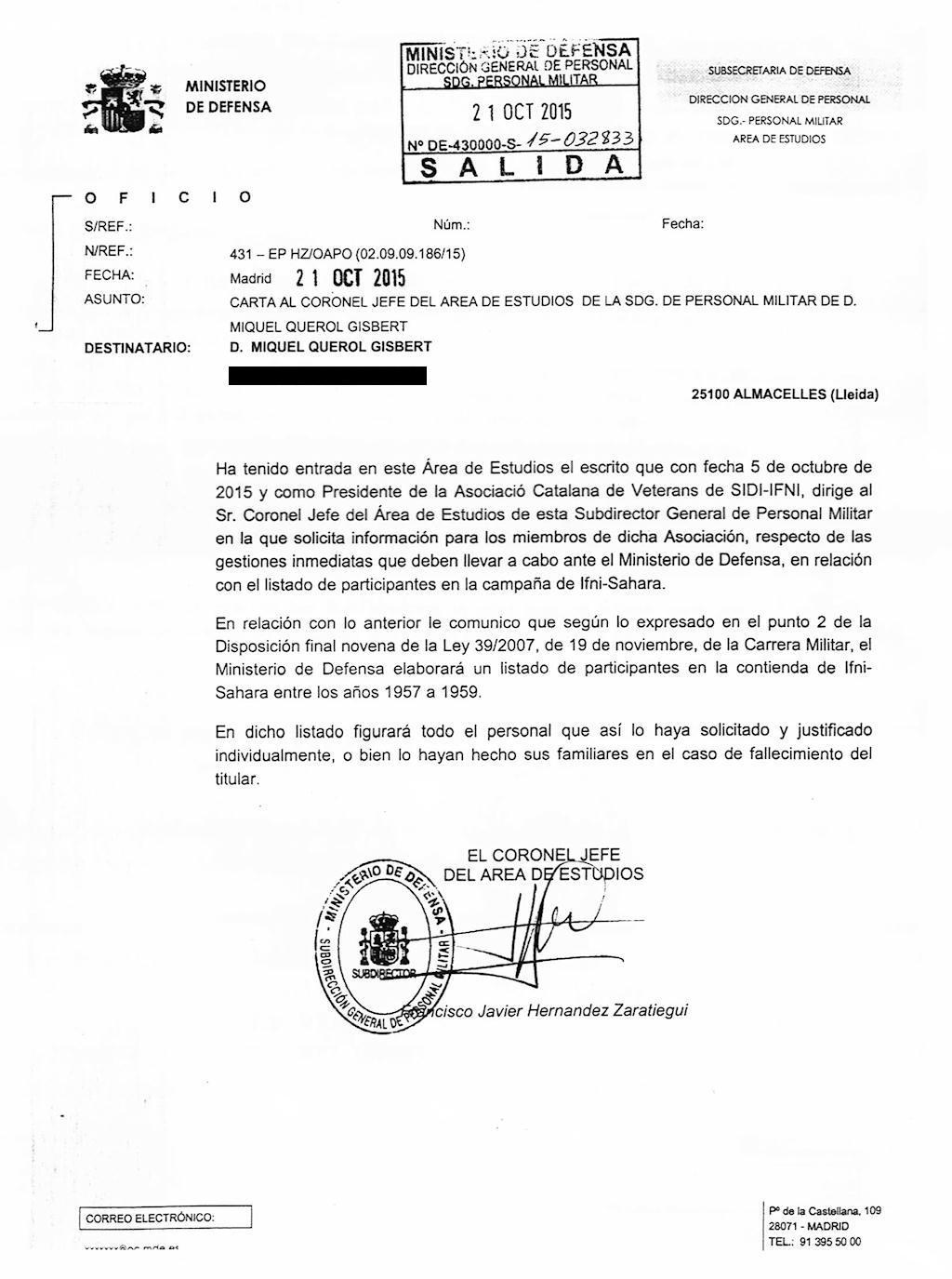 Carta de respuesta del Ministerio de Defensa.