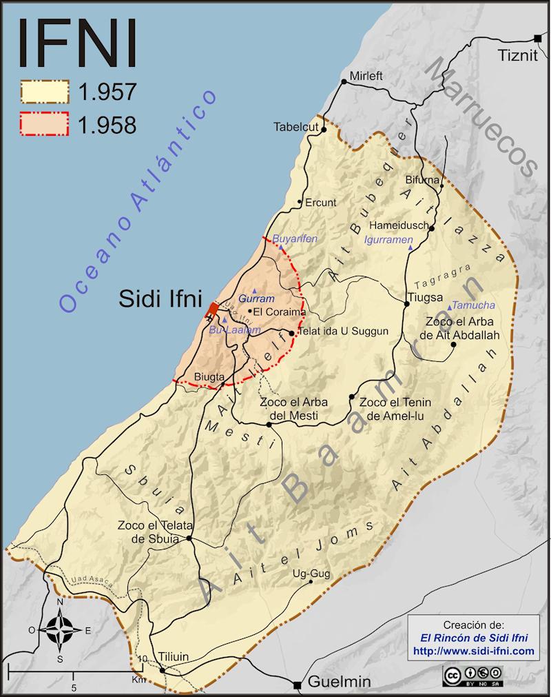 El territorio de Ifni quedó reducido tras la guerra de 1957 al perímetro defensivo que rodeaba