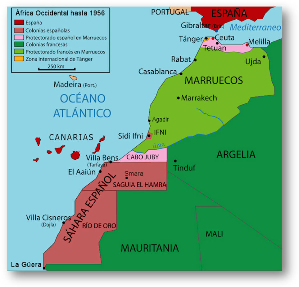 África Occidental hasta la independencia de Marruecos en 1956.