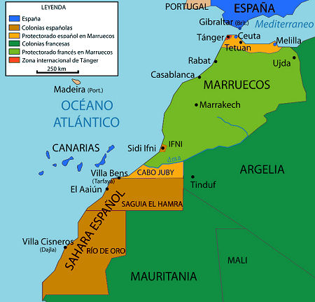 Mapa colonial del África Occidental