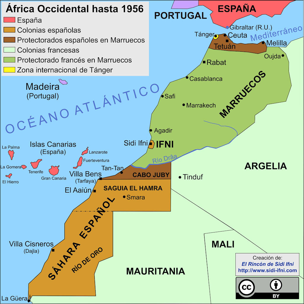 África noroccidental hasta 1956, año de la independencia de Marruecos.